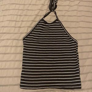 American Eagle black and white halter top